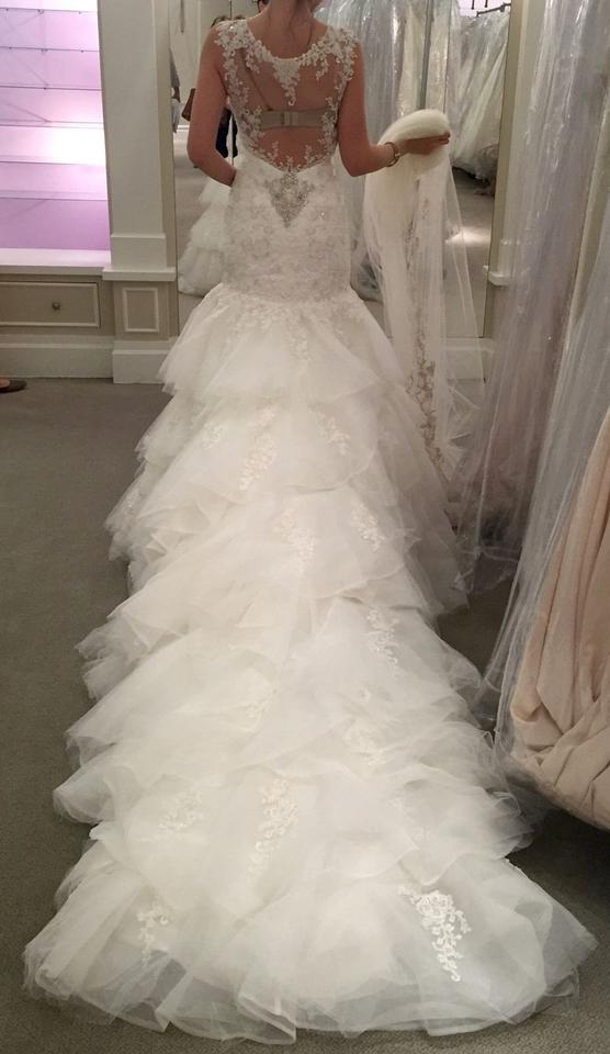 25a98ad9f46 Eve of Milady White Lace Formal Wedding Dress Size 8 (M) Image 0 ...