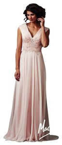 Mac a Duggal couture Size 12 Chiffon Prom Mother Of Pearl Dress