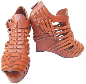 Givenchy Peep Toe Caged Strappy Brown Wedges