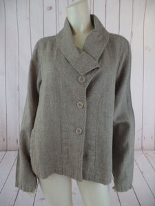 FLAX Blazer Linen Textured Slub Button Front Shawl Collar Comfy Taupe Jacket