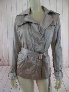 Talbots Coat Poly Cotton Metallic Textured Hidden Button Hot Pewter Jacket