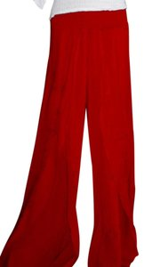 Lirome Casual Resort Cottage Chic Ibicenco Wide Leg Pants Red