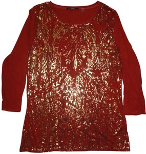 Tahari Top Rustic Orange-Brown With Chocolate & Gold Print