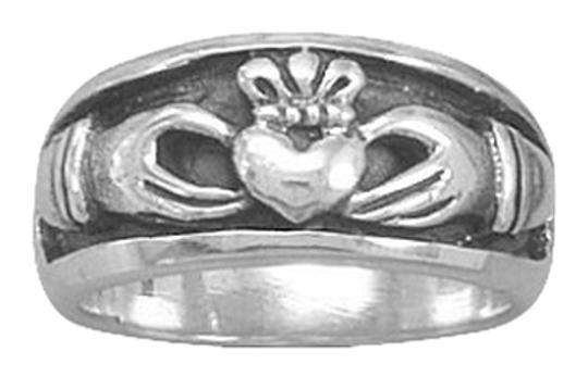 Other Oxidized Inset Claddagh Ring