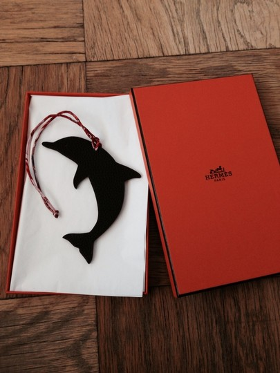 Hermès Hermes Dolphin Leather Hanbag Charm in Red & Brown