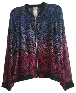 Juicy Couture Jacket Sheer Jacket Zip Front Jacket Animal Print Jacket Top Multi Color