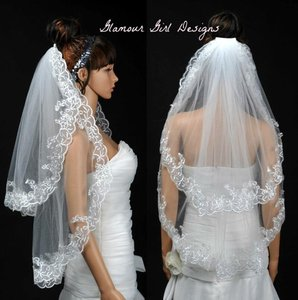 New Embroidered 2 Tier Veil White