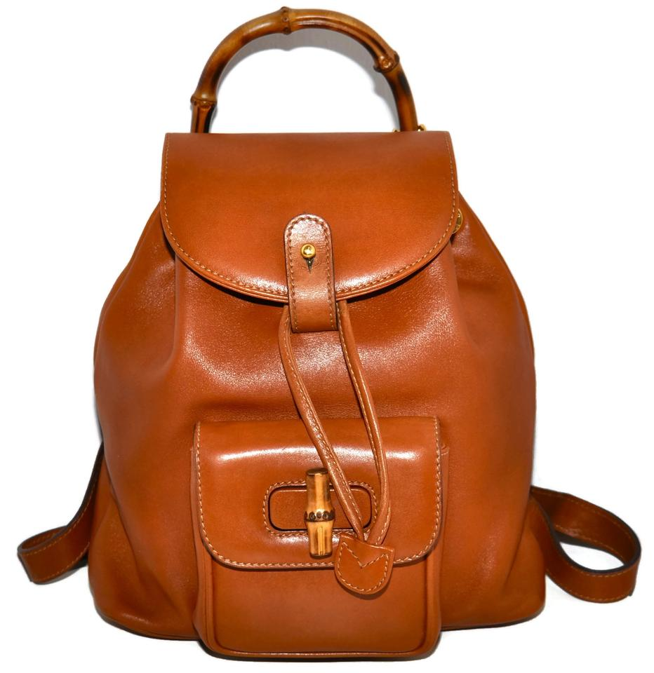 b0ce8ffc6227 Gucci Cognac Calfskin Mini with Bamboo Handles Made In Italy Brown Leather  Backpack - Tradesy