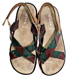 Prada Platform Crisscross Strap Open Toe Multi-Color Sandals