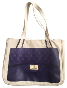 Thursday Friday Chanel Canvas Trendy Carryall Tote in Oatmeal and Purple