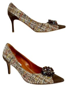 Moschino Cream Brown Tweed Heels Pumps
