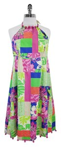 Lilly Pulitzer short dress Neon Floral Halter Pom Pom on Tradesy