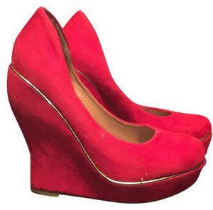 Lasonia Shoes Red Wedges