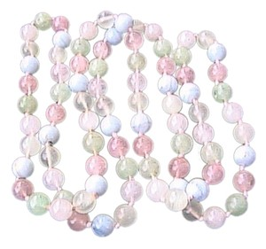 Vintage Icy Green Jade Rose Quartz Agate Beaded Necklace