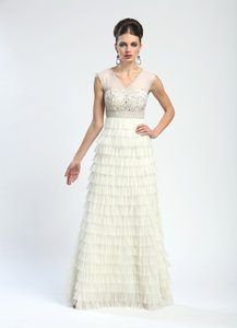 Sue Wong Illusion Cap Sleeve Beaded Bodice Layered Ruffle Wedding Dress