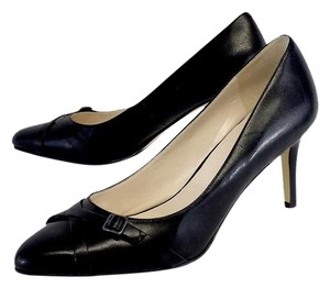 Cole Haan Black Leather Buckle Strap Pumps