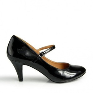 Classified Mary Jane Patent Low Heel Black Pumps