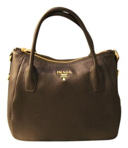Prada Vitello Daino Tote Hobo Satchel in black