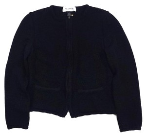 St. John Cropped Black Knit Zip Up Jacket