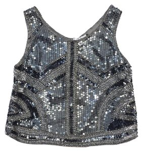 Parker Gunmetal Sequin Silk Top