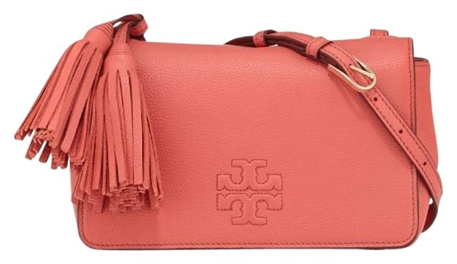 Tory Burch Thea Mini Spiced Coral Leather Cross Body Bag Tory Burch Thea Mini Spiced Coral Leather Cross Body Bag Image 1