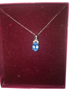 Zales Blue Topaz Pendant Necklace
