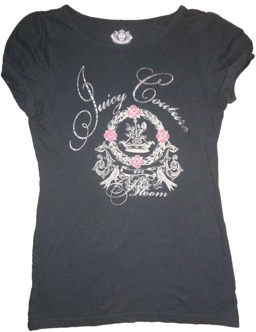 Juicy Couture T Shirt Gray, Silver, Pink Flowers, Crystal Detail