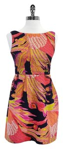 Nanette Lepore short dress Pink Orange Yellow Feather Print on Tradesy