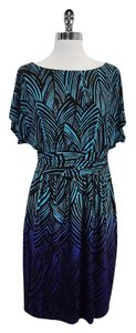 Trina Turk short dress Blue Brown Leaf Print on Tradesy