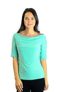 Joseph Ribkoff Aqua 34 Sleeve Boat Neck Formal Top Blue