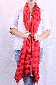 Other Arise Bright Red Square Check Sheer Fringe Trim 100 Silk Long Scarf