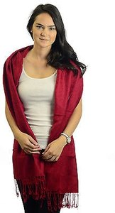 Pashmina All Red Paisley Floral Silk Wool Blend Fringe Detail Shawl Scarf