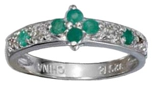 Other Sterling Silver Emerald and Diamond Accent Rose Cut Ring