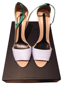 Narciso Rodriguez Two Strap Leather Heels Multi (White/Green/Black) Sandals