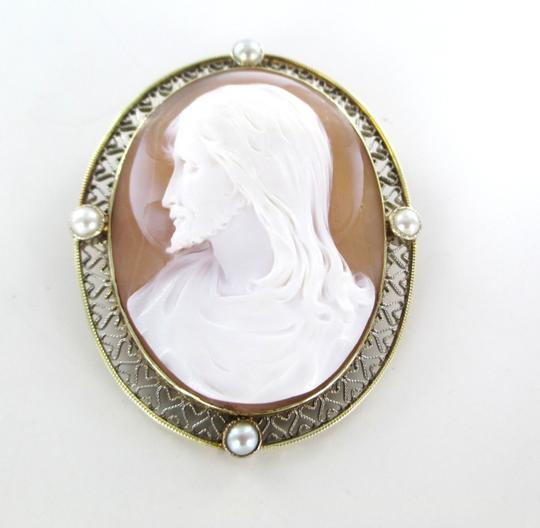 Other 14KT SOLID YELLOW GOLD CAMEO PIN BROOCH JESUS VINTAGE COLLECTIBLE RELIGIOUS 13GR Image 1