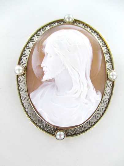 Other 14KT SOLID YELLOW GOLD CAMEO PIN BROOCH JESUS VINTAGE COLLECTIBLE RELIGIOUS 13GR Image 2