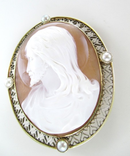 Other 14KT SOLID YELLOW GOLD CAMEO PIN BROOCH JESUS VINTAGE COLLECTIBLE RELIGIOUS 13GR Image 3