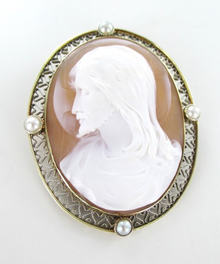 Other 14KT SOLID YELLOW GOLD CAMEO PIN BROOCH JESUS VINTAGE COLLECTIBLE RELIGIOUS 13GR Image 4