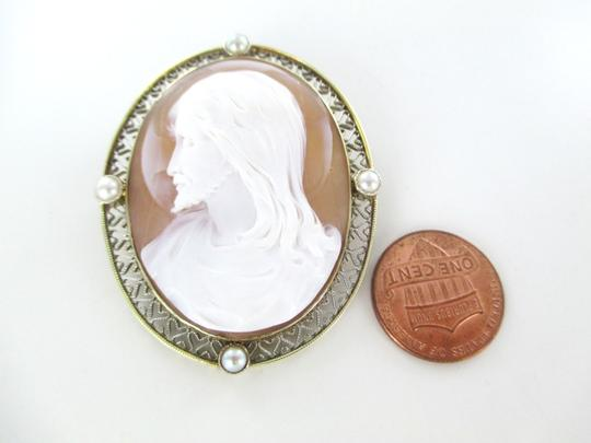 Other 14KT SOLID YELLOW GOLD CAMEO PIN BROOCH JESUS VINTAGE COLLECTIBLE RELIGIOUS 13GR Image 6
