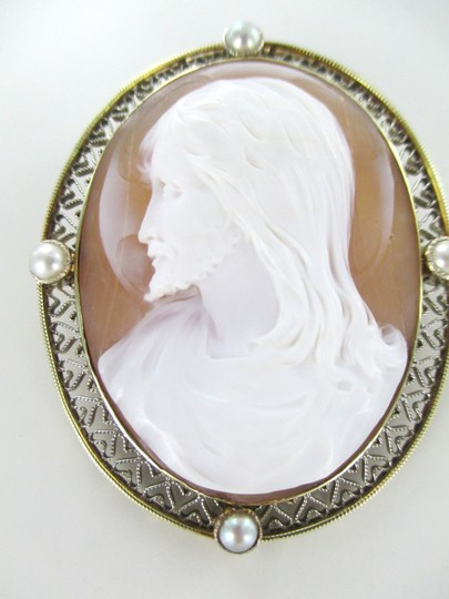 Other 14KT SOLID YELLOW GOLD CAMEO PIN BROOCH JESUS VINTAGE COLLECTIBLE RELIGIOUS 13GR Image 7