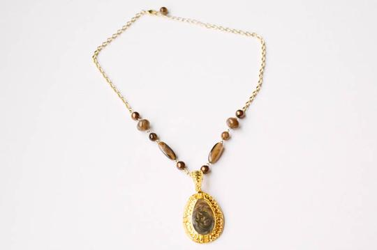 Other Amber & Gold Pendant Necklace