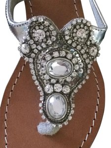 Mystique Boutique Wedge Silver Sandals