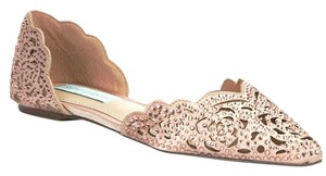 Betsey Johnson Laser Cutouts Sparkle Rhinestones Wedding Blush Flats