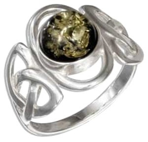 Unknown Sterling Silver Round Green Amber Celtic Trinity Knots Ring