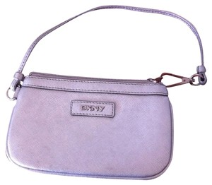 DKNY Genuine Leather Donna Karan Ny Wristlet in Silver
