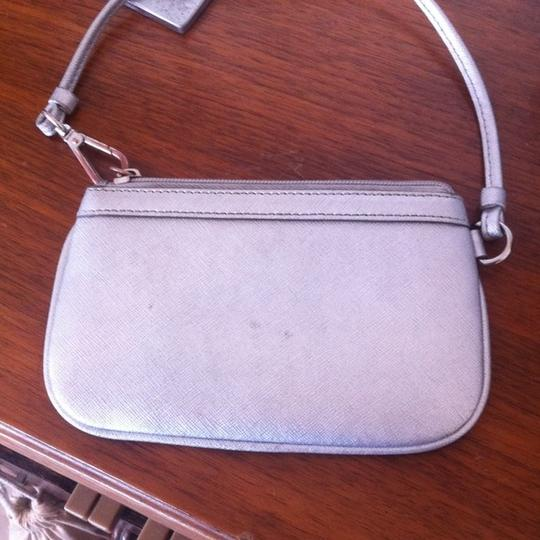 DKNY Genuine Leather Donna Karan Wristlet in Silver