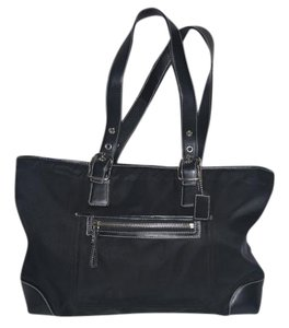 Coach Leather Trim Nylon Two Handle Tote in Black