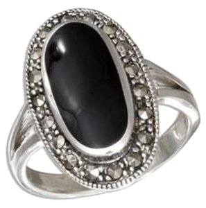 Other Sterling Silver Oval Black Onyx Ring with Marcasite Border