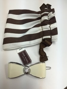 Henri Bendel Henri Bendel Silver Tone and Off White Enamel Barette with Pouch