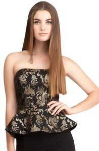 bebe Jacquard Peplum Bustier Top Black and Gold